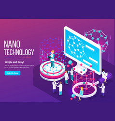 Nanotechnology isometric composition vector
