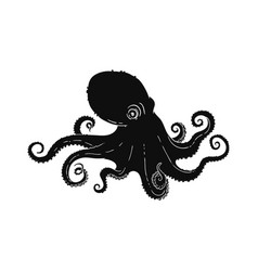 octopus or devilfish in form tattoo silhouette vector image
