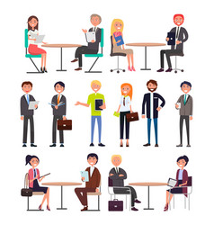 office workers with briefcases daily routine set vector image