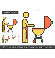 Outdoor grill line icon vector