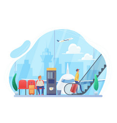 people in airport hall flat vector image