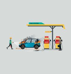 petrol pump fire vector image
