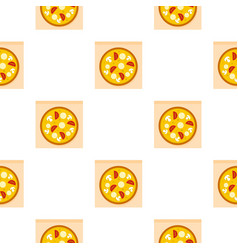 Pizza with sausages pattern vector