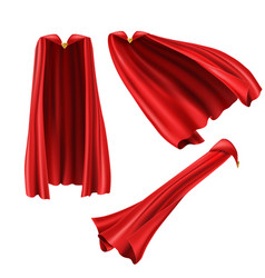 Red superhero cape cloak with golden pin vector