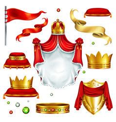 royal attributes and symbols realistic set vector image