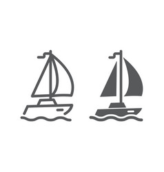 sail yacht line and glyph icon travel and tourism vector image