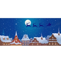 Santa sleigh above town vector