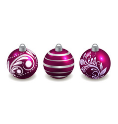 set christmas balls isolated on white purple vector image
