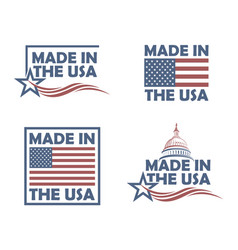 Set of made in usa labels vector