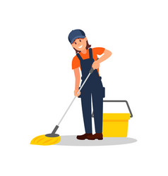 smiling woman mopping floor young girl overall vector image