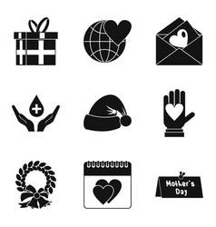 Souvenir icons set simple style vector