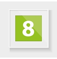 Square frame with number eight vector
