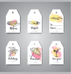 summer hand drawn gift tags beach doodle elements vector image