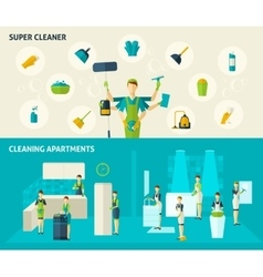 Super Cleaner Flat Banners Set vector