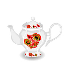teapot with khokhloma ornament vector image