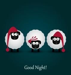 Three cute cartoon sheeps in hats good night vector