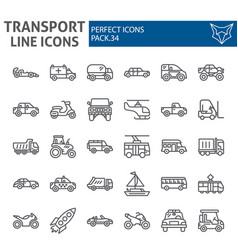 transport line icon set vehicle symbols vector image