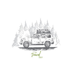 travel car forest trip adventure concept vector image