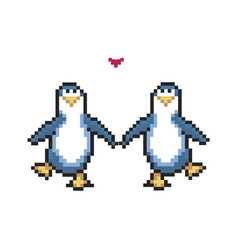two penguins in love cute pixel penguins 8 bit vector image