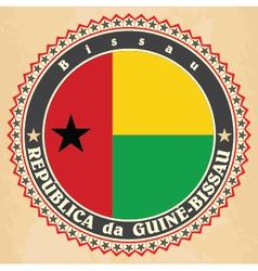 Vintage label cards of Guinea-Bissau flag vector image