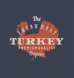 vintage turkey logo for dairy and meat business vector image