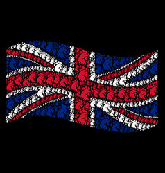Waving british flag pattern of rooster head icons vector