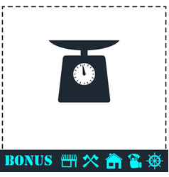 Weight scale icon flat vector