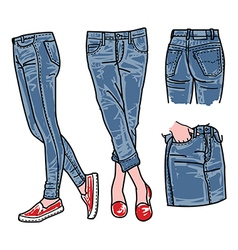 Woman jeans denim clothes vector
