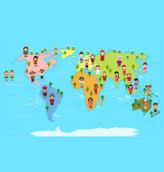 World map and kids of various nationalities vector