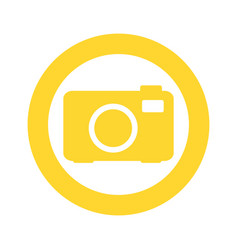 yellow symbol camera icon vector image