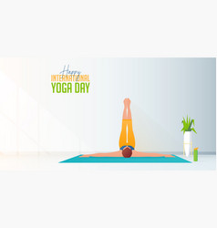 Yoga poses for international day vector