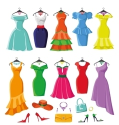 Colored summer dresses and accessories big set vector image