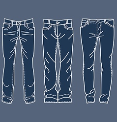 Drawing blue jeans mens jeans Drawing blue jeans vector image vector image