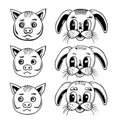 head of a pig and a rabbit vector image