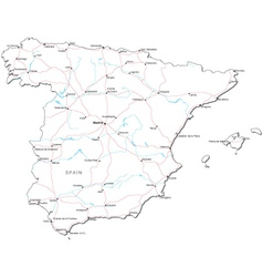 Spain Black White Map vector image vector image