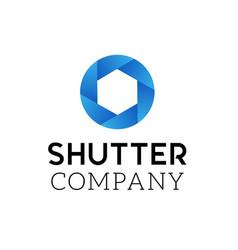 symbol of camera shutter logo design vector image