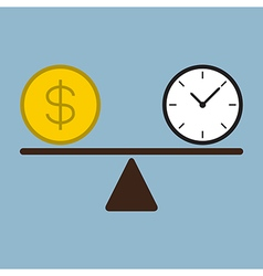 time and money coin on scale vector image