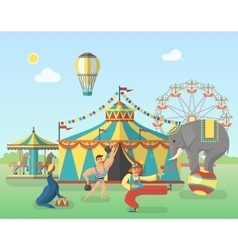 Circus Performance In Park Poster vector image vector image