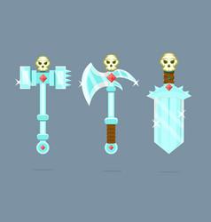fantasy weapons set battle-ax poleax battle vector image
