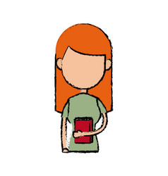 Girl school student cartoon young holding red book vector