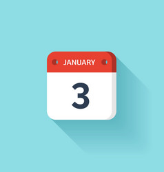 January 3 Isometric Calendar Icon With Shadow vector image vector image