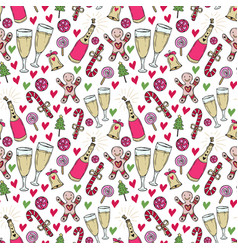 new year pattern christmas wrapping paper cute vector image