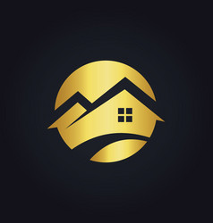 round house icon gold logo vector image