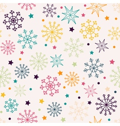 Seamless pattern with multicolored snowflakes vector image