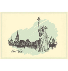 vintage postcard with sketch of the statue of vector image vector image