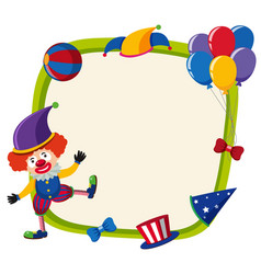 border template with funny clown and balloons vector image