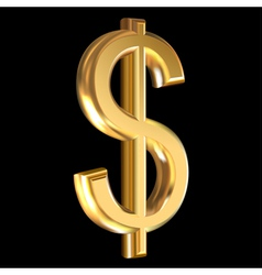Dollar sign on black vector image