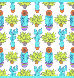 pattern with cactuses vector image