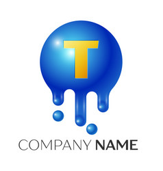 t letter splash logo blue dots and bubbles letter vector image vector image