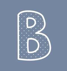 B alphabet letter with white polka dots on blu vector image vector image